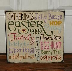 Easter Typography Primitive Wood Spring Sign