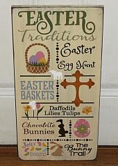 Easter Traditions Primitive Handmade Wood Spring Typography Sign