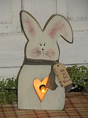 Primitive Spring Wood Bunny Box with Heart Cutout - Lighting Choices