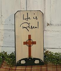 He Is Risen Cross and Sheep Vertical Primitive Wood Sign