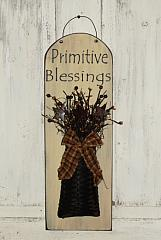Stenciled Oval Primitive Blessings Plaque / Without Crackle Paint
