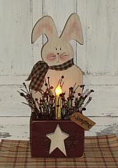 Primitive Spring Bunny Box With Light