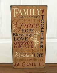 Family Faith and Grace Primitive Wood Typography  Subway Sign