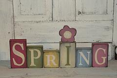 Primitive Spring Tall Wood Blocks with Daisy-Pastel Tones