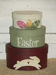 Easter Eggs and Jumping Bunny Handpainted Stacking Boxes - set/3