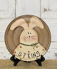 Primitive Spring Bunny Plate with Flowers