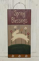 Primitive Spring Blessings Handpainted Wood Sign