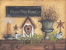 """Bless This Home"" Birdhouse Picture"