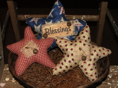 Americana Set of Stars with Burlap Tag