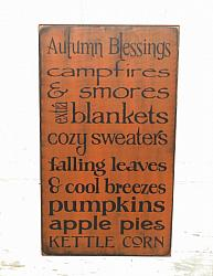 Autumn Blessings Primitive Wood Typography Sign