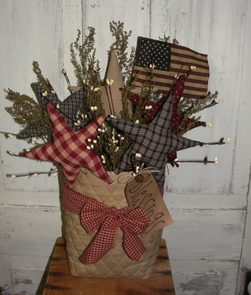 Primitive Americana Bag of Stars and Flag