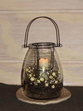 Glass Jar with Votive Arrangement
