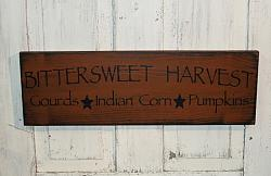 Bittersweet Harvest - Gourds - Indian Corn - Pumpkins Primitive Fall and Thanksgiving Primitive Wood Sign