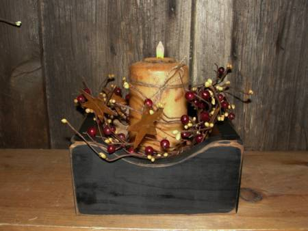Primitive Box With Grungy Tealight Cake Candle and Berries