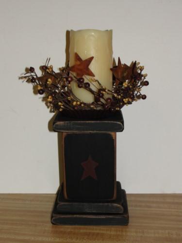 Primitive Wood Block Candle Arrangement
