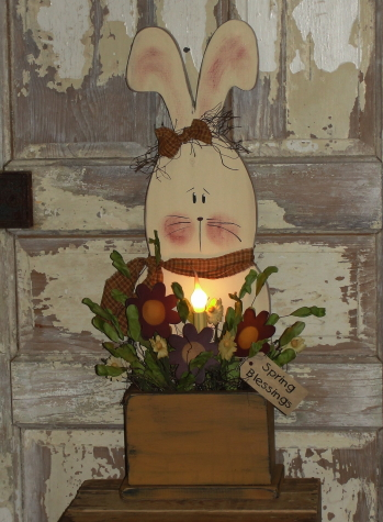 Daisy Bunny Box with Light and Florals