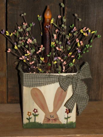 Painted Spring Bunny Box With Light and Berries