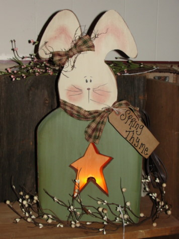 Primitive Spring Wood Bunny with Star Cut out Light Box