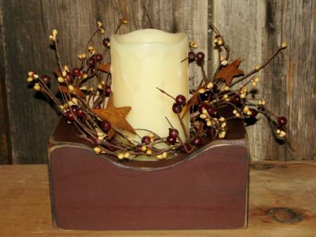 Primitive Box With Timer Candle and Berries