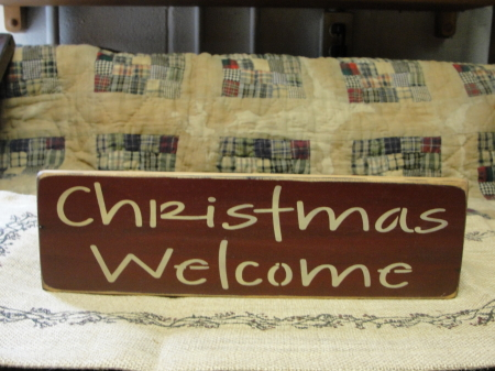 Christmas Welcome Primitive Wood Sign
