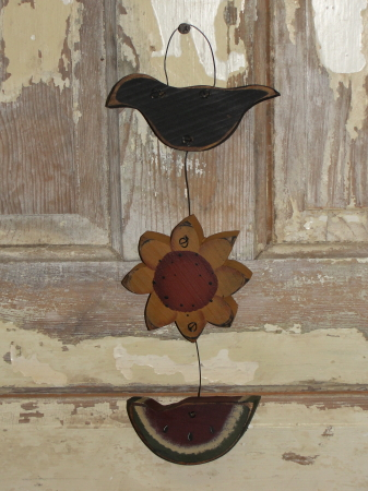 Primitive Crow Sunflower and Watermelon Hanger