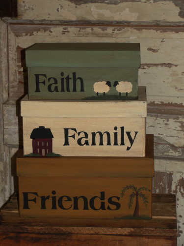 Primitive Faith Family Friends Sheep Saltbox and Willow Tree Rectangular Nesting Boxes