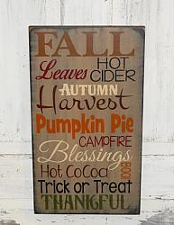 FALL Leaves Primitive Wood Typography Sign