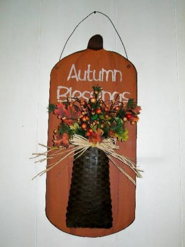 Hanging Fall Pumpkin With Basket/Autumn Blessings