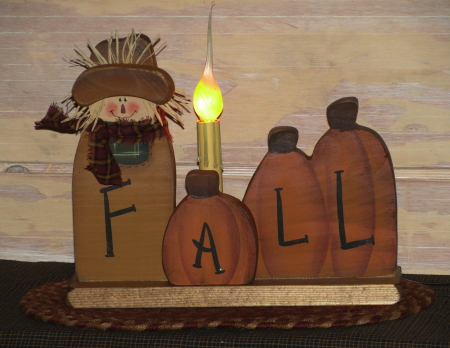 Primitive Fall Scarecrow and Pumpkin Light on Wood Base