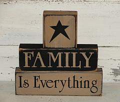 Family Is Everything Primitive Wood  Block Set