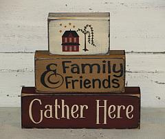 Family and Friends Gather Here with Saltbox Wood Block Set