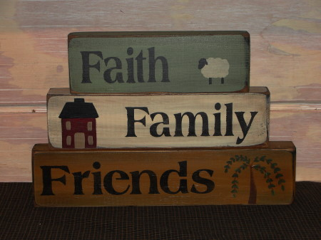 Faith Family Friends Saltbox Sheep Willow Tree Wood Stacking Blocks