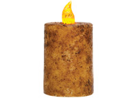 Grungy Ivory Timer Pillar with Flickering Flame