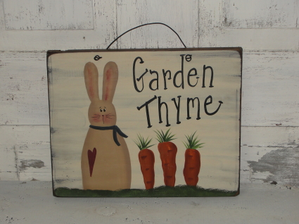 Garden Thyme Primitive Spring Wood Sign
