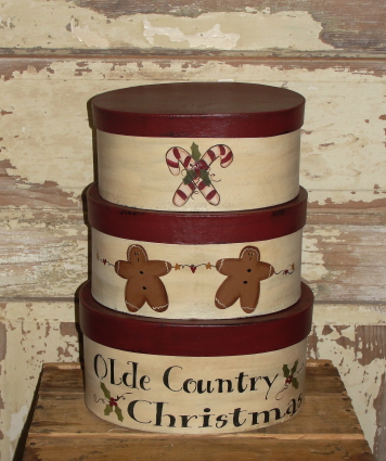 Olde Country Christmas Gingerbread Stacking / Nesting Boxes