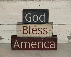 God Bless America Primitive Wood Stacking Blocks