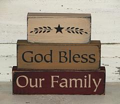 God Bless Our Family with Star Primitive Wood Block set