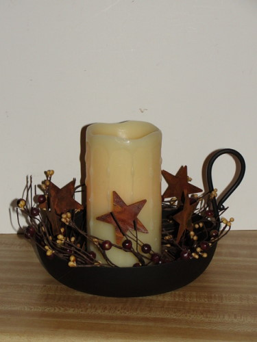 "Rustic Gravy Pan Candle Arrangement with Timer Pillar 3""x6"""