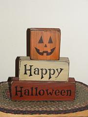 Happy Halloween Primitive Block Set