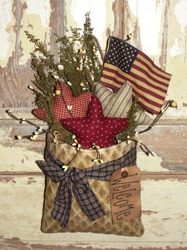 Tea-Stained Americana Wall Pouch