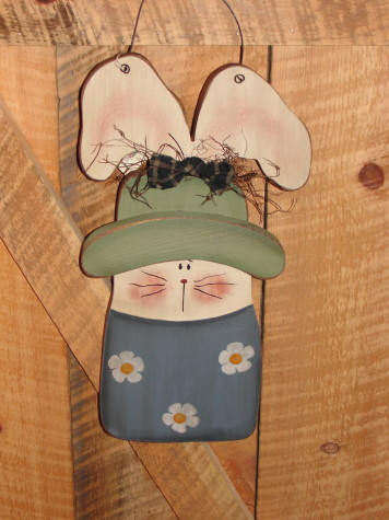 Hanging Wood Daisy Bunny With Floppy Ears