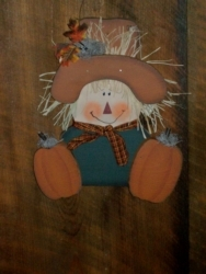 Hand Painted Fall Scarecrow Face With Primitive Wood Pumpkins