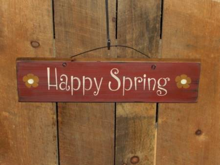 Happy Spring Sign With Daises