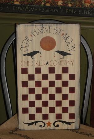 Olde Harvest Moon Primitive Wood Checker Board