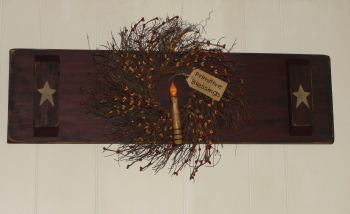 Primitive Wall Board with Wreath and Grungy Light-Horizontal