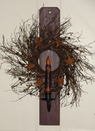 Primitive Decorated Iron Sconce with Distressed Wood