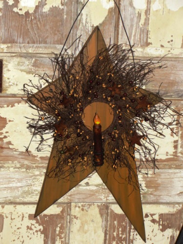Large Primitive Rustic Star with Grungy Battery Light