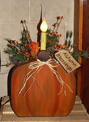 Primitive Fall Pumpkin Box With Light