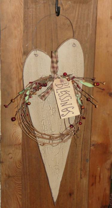 Long Slim Crackled Heart With Grapevine and Berries