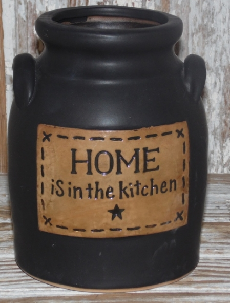 Home is in the Kitchen Primitive Black Stoneware